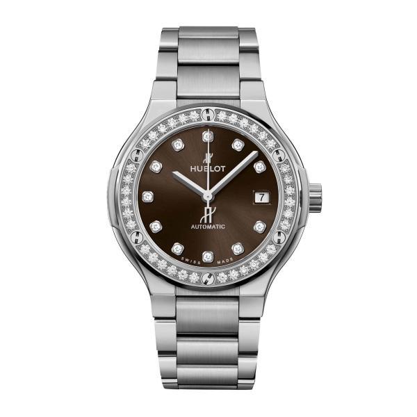 Hublot - Classic Fusion Titanium Brown Diamonds Bracelet